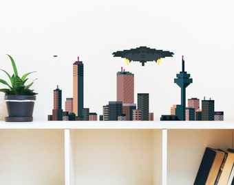 8 Bit City Skyline Wall Decal
