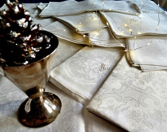 Linen Napkins -  XL Luxury Art Nouveau table linen from french