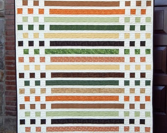 Modern Quilt, Lap Quilt,  Orange Quilt,  Masculine Quilt, Green Quilt, Brown Quilt, Morse Code, Christian Faith, Ready to Ship
