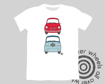 CLASSIC FIAT t-shirt! Vintage Fiat 600 & Multipla tee choice of car and shirt colors! Original art by Wheels All Over