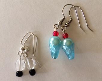 Teeny Tiny Retro Dangle Bead Earrings Set