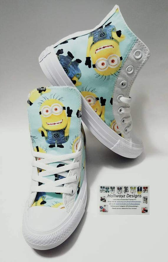 Minions, despicable me birthday shoes, white sneakers, Converse chucks, children  minion party outfit by hallwayzdesigns