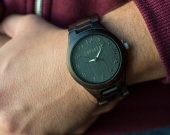 Bamboo Watch Men's Linked Carbonized (Large Face)