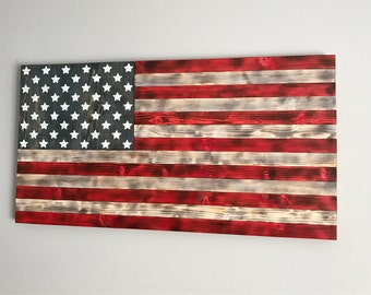 "Charred Wood American Flag  - 22""x42"", Wooden American Flag, Painted Wood American Flag"