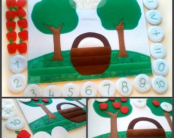 Learning toy, Educational board, Math game, Mathematical Toy, Arithmetic Toy, Counting Game,learning mathematics, Montessori Game,Apple Tree