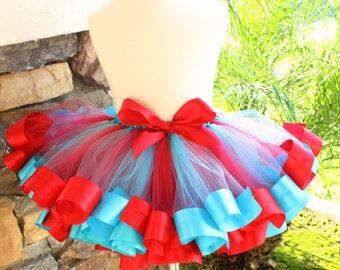 Circus Tutu, Red and Blue Ribbon Tutu, Thing 1 Thing 2 Tutu, Carnival Tutu, Red and Blue Tutu, Ribbon Trimmed Tutu, Cat in the Hat Tutu