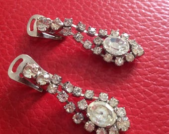 Vintage retro dangly diamante rhinestone glass stone drop earrings clip on  prom party evening diamond paste high end chrome back