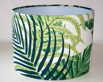 Botanic Forest Palm Leaves Tropical Green Drum Lampshade.