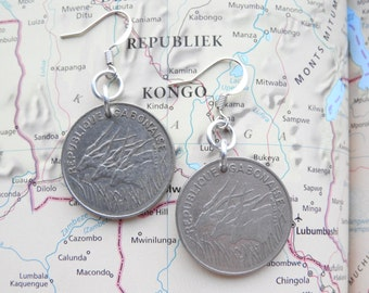 Congo 100 francs coin earrings - made of coins from Congo