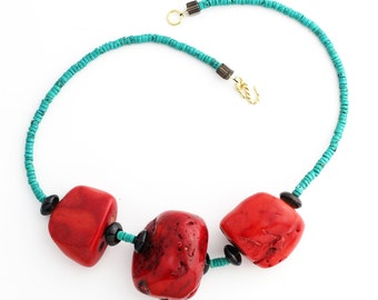 Large chunks of Coral enhanced with Smoky Quartz and Turquoise necklace KT4165