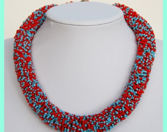 FULANI MULTI NECKLACE - African blue & Red lucky beads, Multi Strand Necklace. Fulani Tribe, Mali, Africa