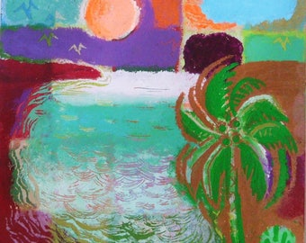 Table painting acrylic on paper /Art original contemporary/work / 'Landscape to Palm'