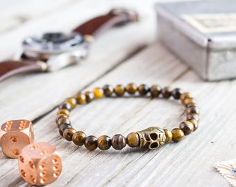 6mm - Tiger eye beaded stretchy bronze skull bracelet, custom made gemstone bracelet, mens bracelet, womens bracelet, tiger eye bracelet