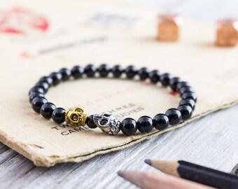 6mm - Black onyx beaded stretchy silver & gold skull bracelet, custom made yoga bracelet, mens bracelet, womens bracelet