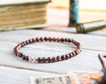 4mm - Red jasper beaded stretchy bracelet with sterling silver beads, made to order mens beaded bracelet, mens bracelet, womens bracelet