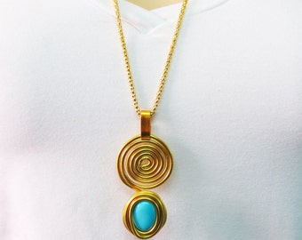Gold Wrap Necklace, Boho Wrap Necklace, Wrap Stone Necklace, Gold Statement Necklace, Gold Statement Necklace, Gold Wire Necklace Pendant,