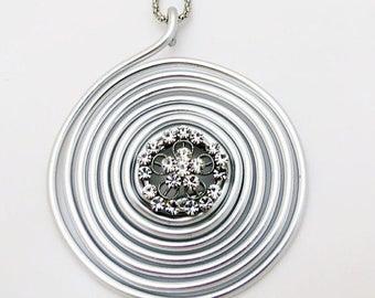 Spring SALE - Silver Flower Pendant, Flower Crystal Necklace,Silver Necklace, Wrap Stone Necklace, Spiral Shap Necklace, Wire Pendant, Lo...