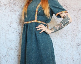 70 era vintage wool dress