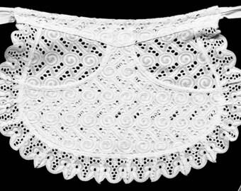 Vintage cotton lace apron Eva 39, French maid apron, maids apron.