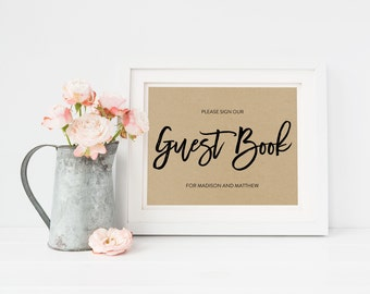 Wedding Sign Template   Guest Book Sign   Wedding Sign   Printable Wedding Sign   5x7 & 8x10   EDN 5458
