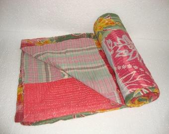 Vintage Light weight Kantha Quilt Reversible Throw Bedspread Bedding E1029