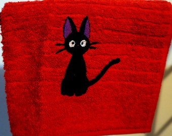 Cute Red Cat Jiji Embroidered Hand Towel Kiki's Delivery Service Movie Anime Studio Ghibli