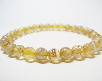 Rutilated Quartz Bracelet Power Bracelet Healing Bracelet Spiritual Bracelet Solar Plexus Chakra Golden Rutilated Quartz Gemstone Bracelet