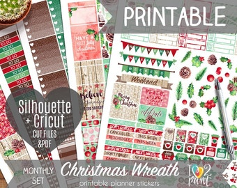 Christmas Watercolor Printable Planner Stickers, Erin Condren Planner Stickers, Monthly Planner Stickers, Christmas EC Stickers - Cut Files