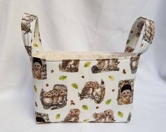Owls Quilted Fabric Bin/Basket