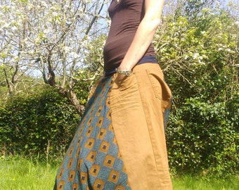 Harem pants to order patchwork fabric and ochre velvet Saharan Wax & Line
