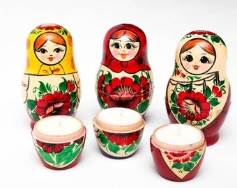 Babushka Soy Candle in Traditional Russian Nesting Doll