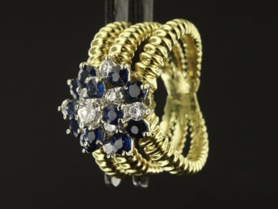 18K Solid Gold Diamond Sapphire Ring Size 6.25 with Raised Triple Band RG398