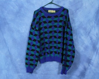 Vintage 80s 90s Funky Sweater // Blue Green Black Geometric // Oakton Ltd Pullover