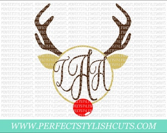 Rudolph Monogram SVG, DXF, EPS, png Files for Cutting Machines Cameo or Cricut - Rudolph Svg, Christmas Svg, Reindeer Svg, Monogram Frame