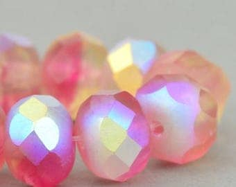 Czech Glass Beads - Czech Glass Rondelles - Fuchsia Vasoline Yellow Mix Transparent Matte with AB - 9x6mm - 25 beads