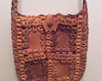 Vintage Braided Leather Hippy Cross Body Hobo Purse