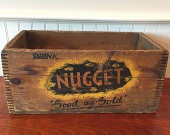 Wood Crate Vintage Beverage Crate Vintage Wooden Crate Dovetailed Crate Beverage Crate Bottling Nugget Soda Crate Providence Rhode Island