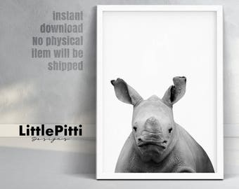 Safari nursery print, rhino wall art, baby rhino print, safari animals, cute baby animals, african animals print, black white nursery photo
