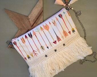 "Clutch with chain Collection ""Arrow"" spirit - boho purse - boho Bohemian bag"
