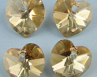 4 10mm Swarovski crystal heart pendant 6202goldenshadow 6024