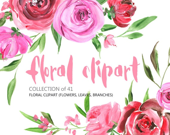 Flowers clipart: acrylic watercolor Roses Peony Flowers Free