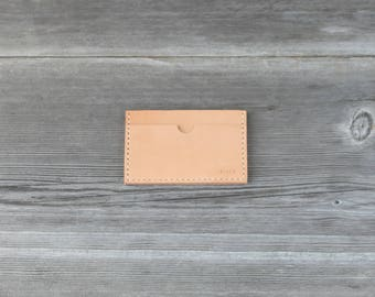 Leather Stacked Card Case // Nude