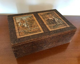 Antique wooden box / vintage / horses / artdeco / gift / horseman / jockey