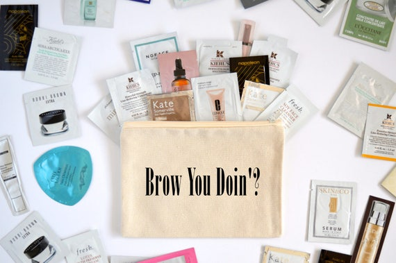 Canvas Cosmetic Bag: Brow You Doin'? - Makeup Bag