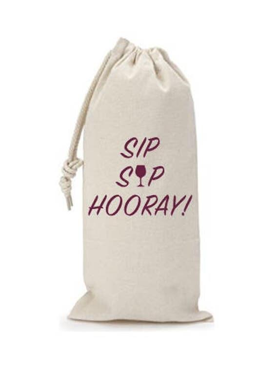 Sip Sip Hooray! - Canvas Drawstring Wine Bag: Maroon Lettering