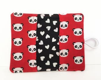 Card Wallet - Card Holder - Pandas Red- Fabric Card Holder - Card Holder Wallet - Business Card Holder - Credit Card Holder - Panda Bears