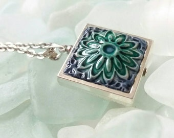 Turquoise and blues handmade tile pendant