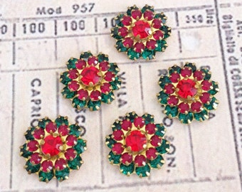 2 Christmas sparkly emerald and light siam ruby swarovski crystals in brass setting  #1241-12