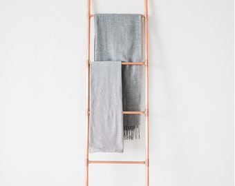 Taller Copper Pipe Ladder for Blankets, Towels, Retail Display