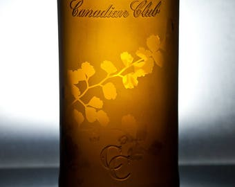 BOTANICAL VASE - Recycled Amber Spirit Bottle (Maidenhair Fern)